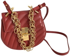 Chloe Leather Gold Hardware Drew Bijou Mini Cross Body Bag