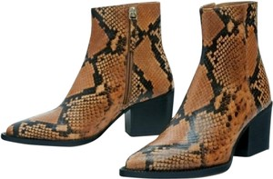 Pull&Bear Brown and Black Snakskin Print Boots