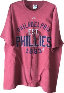 Majestic Phila. Phillies Coton/Polyester Crewneck Sleeves Machine Wash T Shirt Red