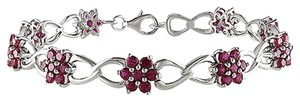 Sterling Silver Created Ruby Flower Nature Bracelet 7.5 5.04 Ct