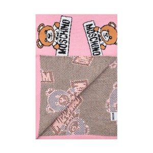 Moschino Moschino Wool Allover Teddy Bear Scarf Pink