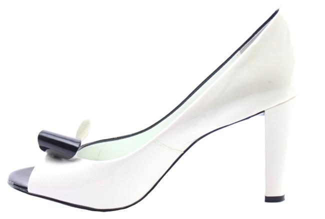 Anne Klein Black & White Patent Leather Colorblock Peep Toe Pumps Size US 8.5 Regular (M, B) Anne Klein Black & White Patent Leather Colorblock Peep Toe Pumps Size US 8.5 Regular (M, B) Image 1