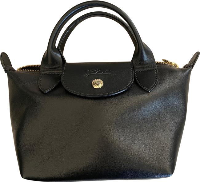 Item - Le Pliage Mini Top-handle Black Lambskin Leather Satchel
