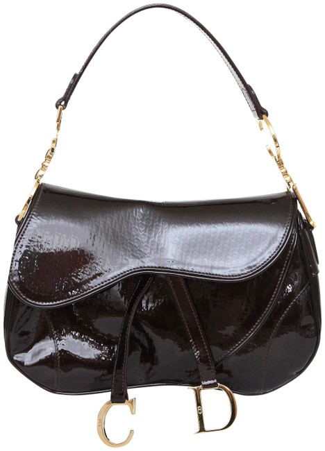 Item - Christian Ultimate Double Saddle Brown Patent Leather Shoulder Bag