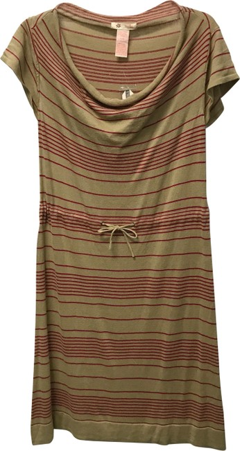 Item - Beige Striped Sweater Mid-length Short Casual Dress Size 12 (L)