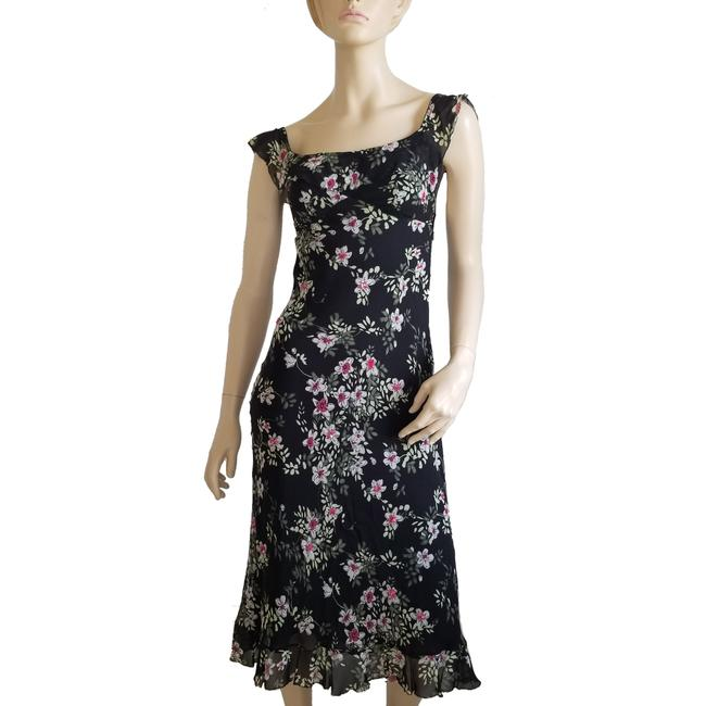 Item - Black Floral Sequin Embellished Mid-length Night Out Dress Size 2 (XS)