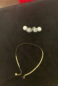K Gold Anklet and Pearl Combination Earrings