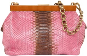 Prada Snakeskin Top Frame Brown Clutch Shoulder Bag