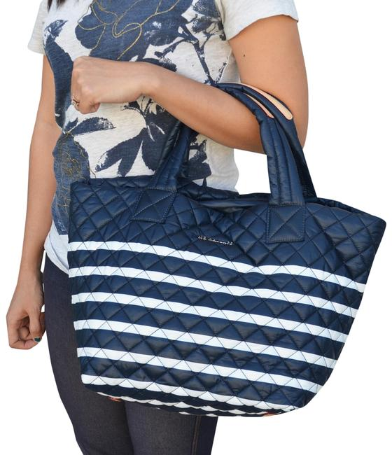 Item - Small Metro Stripes Navy / White Nylon Tote