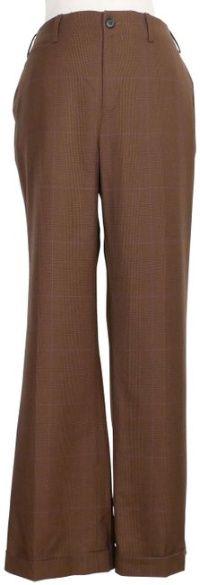Item - Chocolate Brown Multi Tropical Wool Glen Plaid Cuffed 14p Pants Size 16 (XL, Plus 0x)