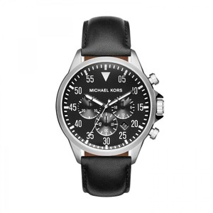 Michael Kors NWT Gage Chronograph Black Dial Black Leather Men's Watch MK8442
