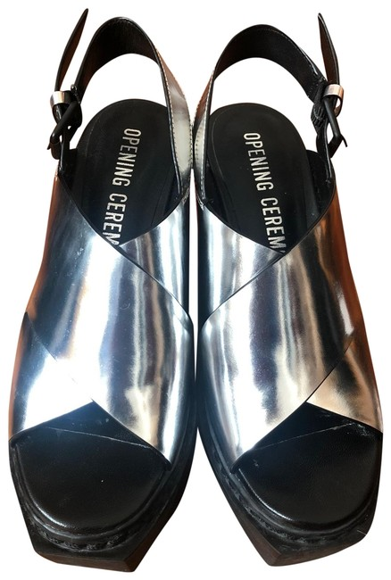 Item - Black and Silver Wedge Sandals Size EU 36 (Approx. US 6) Regular (M, B)