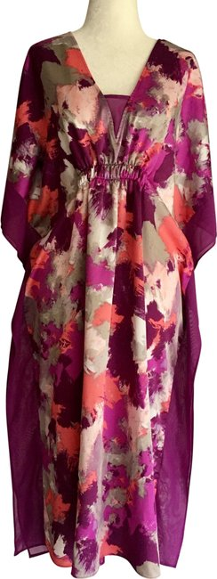 Item - Purple Pink Coral Grey Red Midi Kaftan Tunic Mid-length Short Casual Dress Size 4 (S)
