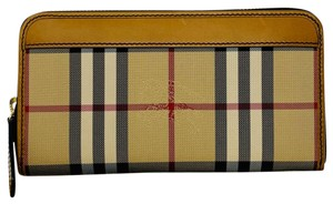Burberry Burberry Elmore Horseferry Check Leather Zip Around Wallet