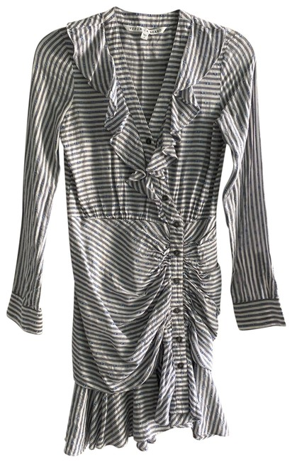 Item - Blue and White Long Sleeve Short Casual Dress Size 0 (XS)