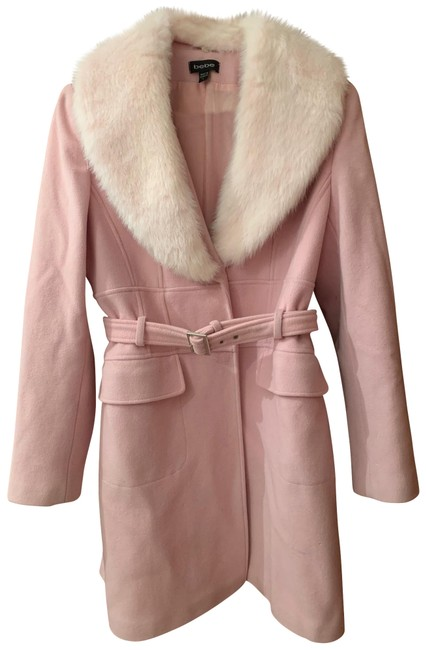 Item - Pink With Detachable Faux Fur Collar Coat Size 12 (L)