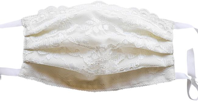 Item - Ivory French Lace Face Mask with Cotton Double Lining Made In Use Scarf/Wrap