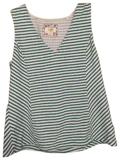 Item - Green and White Chevron Peplum Tank Top/Cami Size 12 (L)