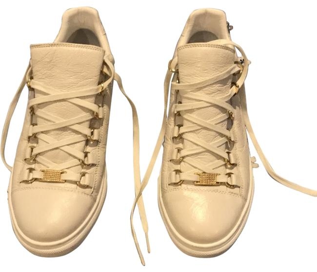Item - White/Gold Neutral Arena Crinkled Sneakers Size EU 39 (Approx. US 9) Regular (M, B)