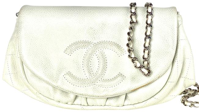 Item - Wallet on Chain Caviar Half Moon Crescent Flap 2ca61 Off-white Leather Cross Body Bag