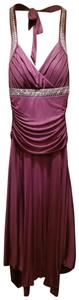 Trixxi Halther Handkerchief Skirt Rhinestone Trim Dress