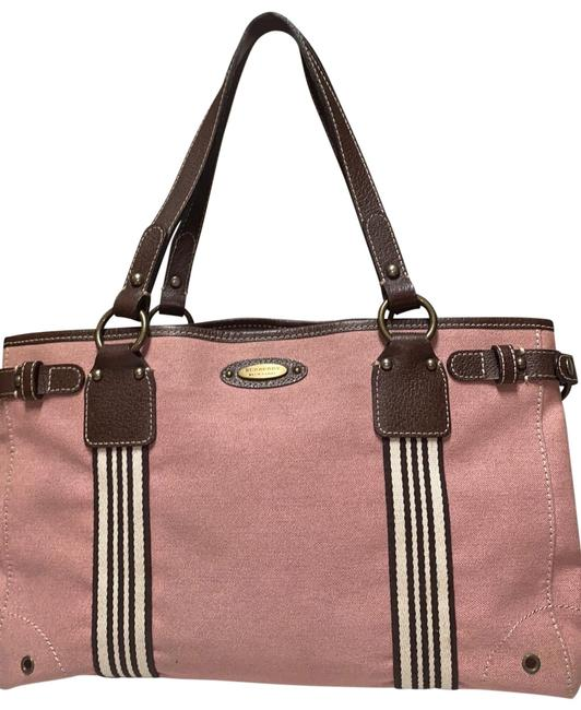 Item - Blue Label Soft Tote Pink Salmon Coated Canvas Leather Satchel