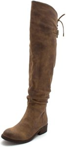 Very Volatile Over The Knee Tall Buckle Tan Boots