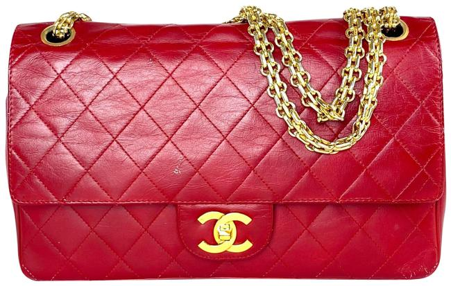 Item - Mademoiselle Double Flap Medium Classic Chain 9ca61 Red Lambskin Leather Shoulder Bag