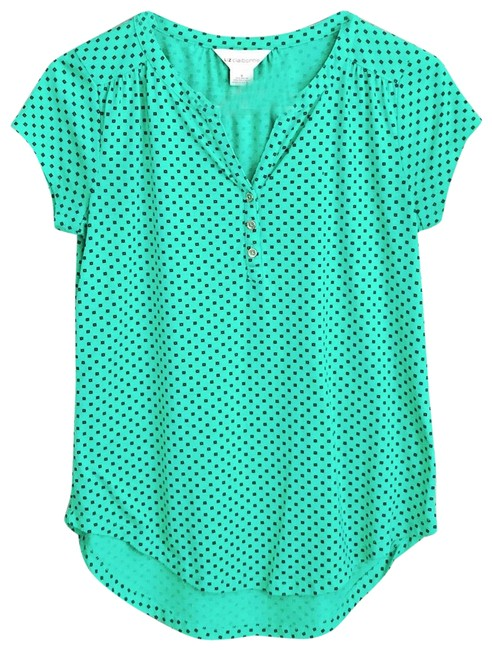 Item - Green Printed Knit Blouse Size 6 (S)