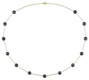 10k Yellow Gold Black Freshwater 5.5-6 Mm Pearl Necklace Chain 17