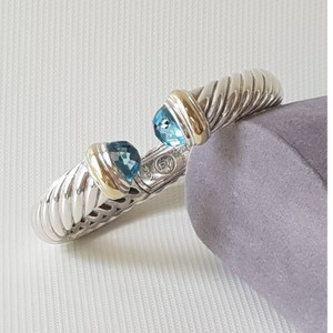 David Yurman David Yurman Waverly 10mm Blue Topaz Bracelet With Gold