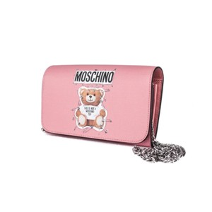 Moschino Couture Robot Bear Leather Pochette Wristlet in Pink
