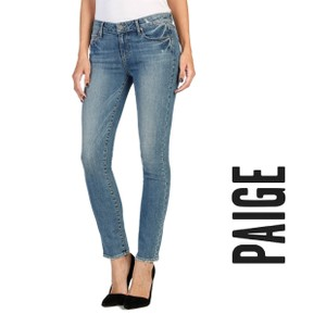 Paige Ankle Cropped Crop Denim Cotton Skinny Jeans-Medium Wash