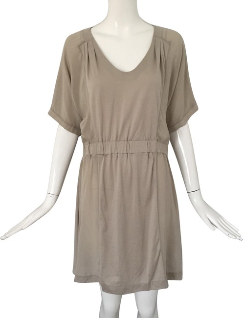 Item - Taupe Silk Cotton Hideaway Mid-length Short Casual Dress Size 8 (M)