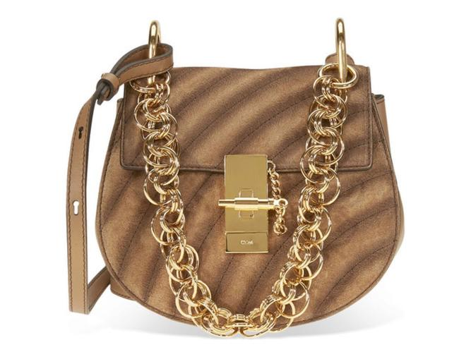 Item - Drew Small Bijou Suede and Nut Cream Leather Shoulder Bag