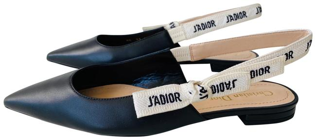 Item - Black J'adior Leather & Ribbon Noir Ballerina Slingback Flats Size EU 37 (Approx. US 7) Regular (M, B)