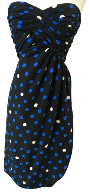 Item - Black and Blue Strapless Mid-length Cocktail Dress Size 6 (S)