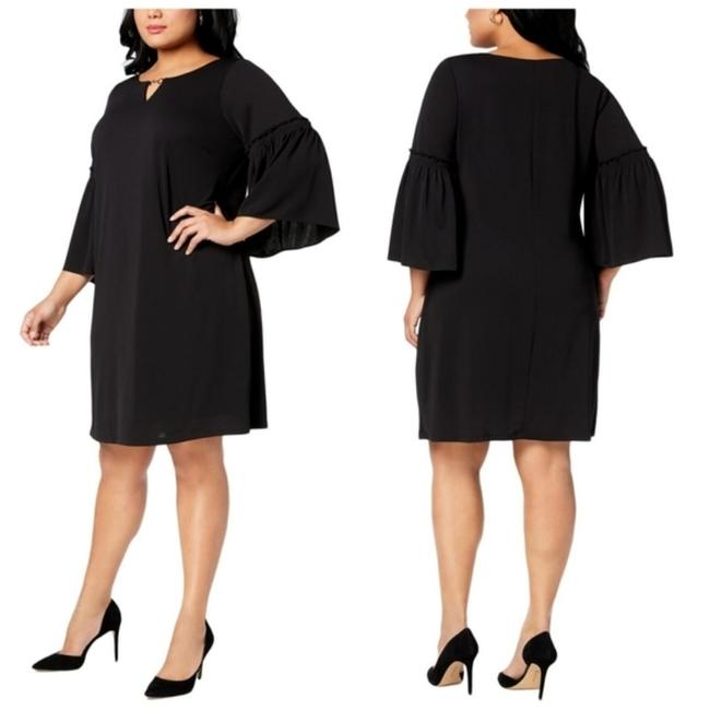 Item - Black Gold Crepe Soutache Bell Sleeves Slimming Sheath Shift Summer Feminine Bridesmaid/Mob Dress Size 28 (Plus 3x)
