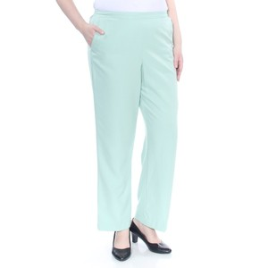 Alfred Dunner Monochrome Stretchy Elastic Straight Pants Green