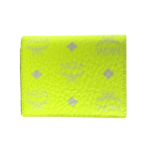 MCM NEW MCM Visetos Coated Canvas Two Fold Flat Wallet, Neon Yellow