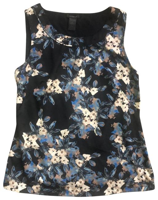 Item - Black and Blue Flowered Front Solid Tank Top/Cami Size 2 (XS)