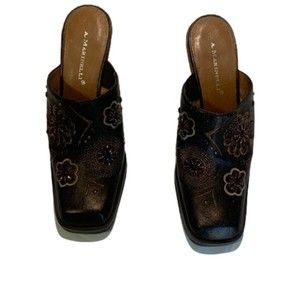 A. Marinelli Embellished Accents Square Toe Brown Gold Mules