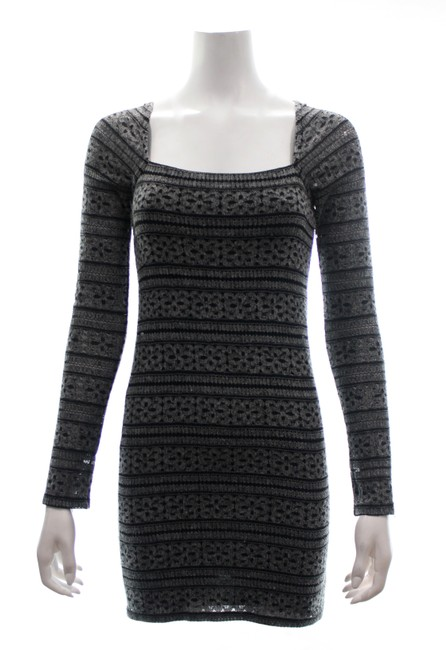 Item - Black & Grey Long Sleeved Print Mini Crisscross Short Night Out Dress Size 4 (S)