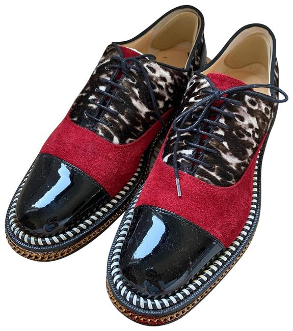 Item - Black/Red Leopard Pattern Lace Up Loafers Flats Size EU 37 (Approx. US 7) Regular (M, B)