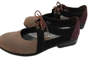 Naot Multi-color Suede Mary Black, Taupe Flats
