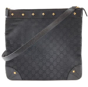 Gucci Gg Canvas Leather Cross Body Bag