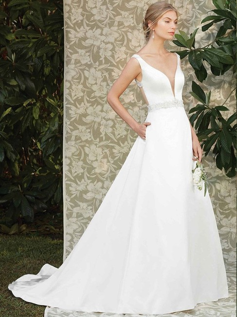 Item - Candlelight Ivory/Silver Satin Sleek Gown In 2285 Modern Wedding Dress Size 10 (M)