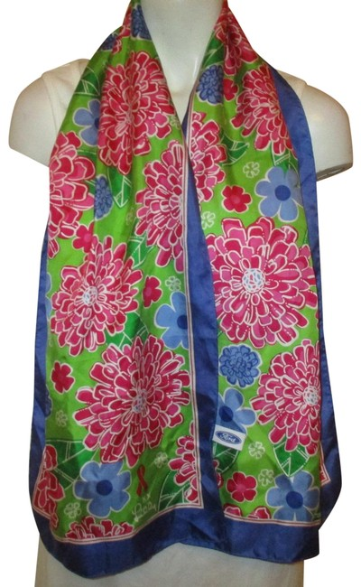 Item - Pink Green & Blue Silk Floral 2005 Ford Scarf/Wrap