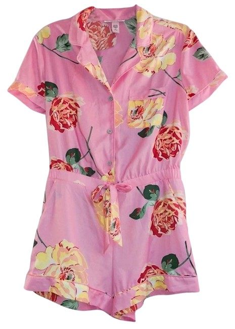 Item - Pink Satin Button Front Xsmall Romper/Jumpsuit