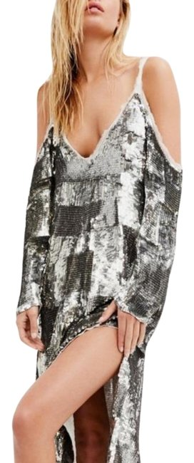 Item - Silver White Sequin Midi Mid-length Night Out Dress Size 0 (XS)